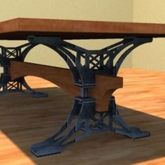 Custom Made Steel Trestle Conference Table