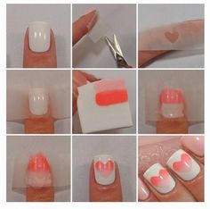 Cute Heart Nail Art Design Step By Step - USA Fashion Trends