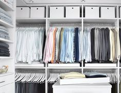The current issue of Martha Stewart Living delves into staffer Kevin Sharkey's quest for a well organized closet.   He went with a custom design from California Closets that provides space for everything in his wardrobe.