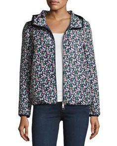 MONCLER Vive Floral Hooded Jacket, Blue. #moncler #cloth #