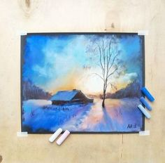 Super Pastel Art Ideas To Draw Watercolors Ideas Soft Pastel Art, Chalk Pastel Art, Chalk Pastels, Dry Pastels, Oil Pastel Drawings, Art Drawings, Drawing With Pastels, Oil Pastel Landscape, Winter Drawings