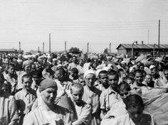 Jewish women prisoners walk inside the women's camp, wearing the standard prison uniform. On the left, a SS man watches them.