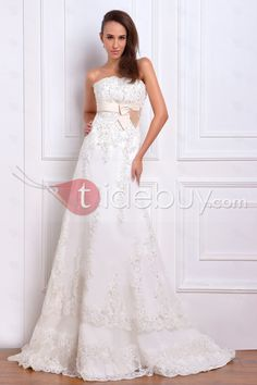 Charming A Line Strapless Satin And Lace Chapel Train Wedding Dress