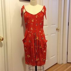 Floral cascade skirt Sundress Red floral pattern sun dress with adjustable tie straps. Rebecca Taylor Skirts