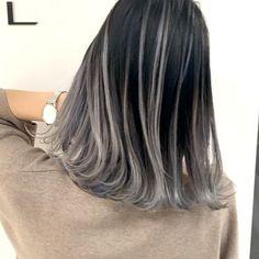 Black grey hair balayage New ideas Black Hair With Grey Highlights, Black And Grey Hair, Hair Color For Black Hair, Cool Hair Color, Hair Dye Colors, Ombre Hair Color, Korean Hair Color, Hair Images, Asian Short Hair