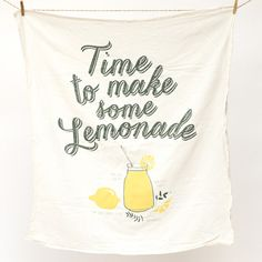 It's always time to make some Lemonade! Keep summer's favorite recipe at your fingertips with this fun kitchen towel. The recipe printed on towel is tested regularly with love, and an occasional splash of vodka. The hand-drawn graphic illustration is individually screen printed by hand. This towel gets softer and more absorbent with every wash and is safe to bleach.