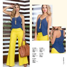 KRITTERIUM FIN DE AÑO 2015 Casual Fall Outfits, Classy Outfits, Chic Outfits, Spring Outfits, Fashion Outfits, Yellow Pants Outfit, Color Blocking Outfits, Trouser Outfits, Classy Casual