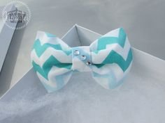 Hair Bow Blue and White Chevron Hair Bow Bows by VarietyCouture, $4.99