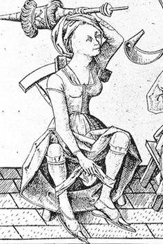 detail from 'der unterjochte Ehemann' (the subjugated husband), Israhel van Meckenem, end of 15th century, Germany - underwear