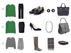Wardrobe: Navy, Gray, BRIGHTS!!! and lots of outfits