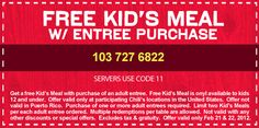 Chilis Coupon Kids Eat Free Today and tomorrow!