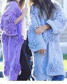 Crochet Coat, Knitted Coat, Crochet Blouse, Knit Dress, Knitwear Fashion, Knit Fashion, Sweater Fashion, Boho Fashion, Pullover Mode