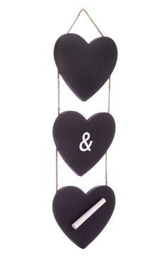 Pack de 3 pizarras con forma de corazón