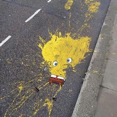 """""""Poor spongebob squarepants! Anyone know who the artist is?  Want a feature to our millions of followers across our blog and social media accounts? Here's…"""""""