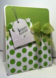 Green and White Birthday by HamiltonGal - Cards and Paper Crafts at Splitcoaststampers