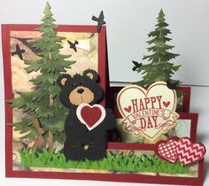 Valentine Card....Happy Valentine's Day Bear Step-Up card for my husband, Mike. This is special, because we were suppose to go to a cabin in Tennessee for the weekend, but had to cancel plans. I was recalling a past memory in 2011, when we had a bear walk into our open cabin door, surprising us one morning. It was an exciting memory! Black bears hold a special place in our hearts now. Products: Cottage Cutz Bear and Trees, Sizzix Basic Step-Up Die by Stephanie Barnard, and Hearts…