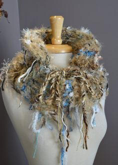 Thumblebug Knit Cinchable Cowl - 'Horizon' - Versatile Reversible Couture Fringed Knit Cowl Scarf Design with cinch knit drawstring