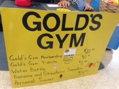 Gold's gym price chart for pretend and learn center. (Danielle Clark's PK class Austin ISD- Fountain Plaza)