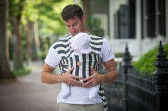 charcoal and white stripe #ackwrap #babywrapcarrier #daddylove #daddydaughter #babywearing #stylishdad #nantucket #austin #madeinusa #mainstreetnantucket