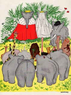Vintage 1960  Babar  Storybook Illustration The Marriage of Babar and Celeste.
