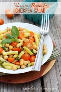 Tomato, Bean & Chickpea Salad on MyRecipeMagic.com The perfect healthy lunch or side salad.