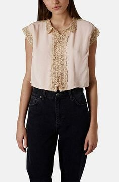Topshop Crochet Trim Blouse available at #Nordstrom