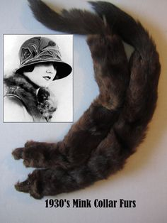 1930s -1940s Mink Fur Collars with Heads & Tails, Brown Mink fur, Very Good Condition, Mink Fur, Real Fur, Vintage Fur, Fur Collars by AshTreeMeadowDesigns on Etsy