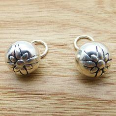 925 Sterling Silver Thai Silver Lotus Pattern Bell Pendant DIY Findings LFJ42