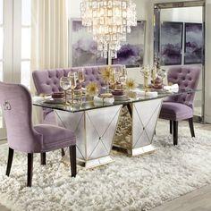 Omni Leaner Mirror Dining Room Table Decor, Elegant Dining Room, Luxury Dining Room, Dining Room Design, Luxury Living, Dinning Room Ideas, Luxury Rooms, Dining Tables, Glam Living Room