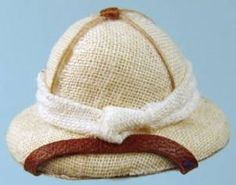 I could make a mini version of a safari hat using my burlap-like ribbon (put on the desk in my world-traveller library) | Source: S P Miniatures