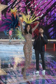 NEW YORK, NY - NOVEMBER 10: Model Cindy Bruna from France walks the runway while The Weeknd performs during the 2015 Victoria's Secret Fashion Show at Lexington Avenue Armory on November 10, 2015 in New York City. (Photo by Jamie McCarthy/Getty Images)