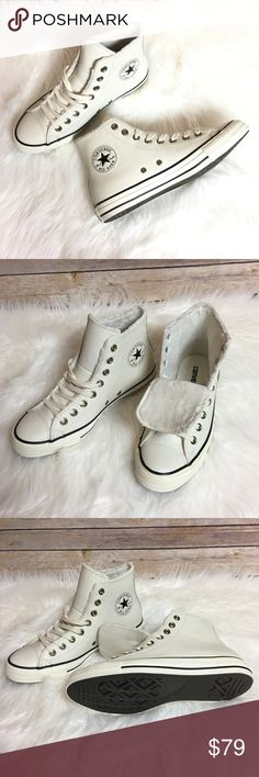 Converse Winter Knit Fur Hi Top Women's Shoes Chuck Taylor All Star Winter Knit Fur Hi Top Women's Converse Shoes• Off White color with black branded Converse patch• Upper Leather• Lining: Faux fur• Outsole: Rubber• 100% Authentic• 🚫No Trade/PP🚫 Converse Shoes Combat & Moto Boots