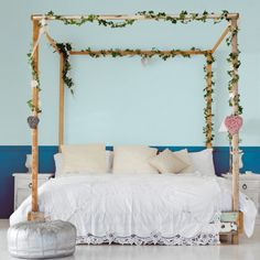 blue, dreamy bedroom