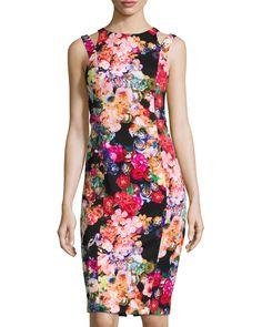 93623ffe49 Maggy London Scuba Floral-Print Sheath Dress