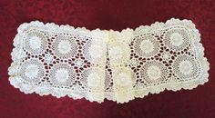 Vintage Crocheted Table Runner Light Cream by VintageLinenGallery
