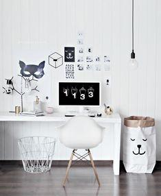 Office space cultfurniture.com Eames DAW, Tellkiddo, batman print, ferm living