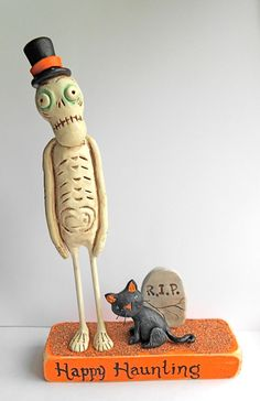 Haunted Halloween Skeleton with Black Cat clay folk by indigotwin, $48.00