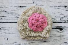 Knitted Baby Girl Newborn Pink flower Hat by ButtonsandLaceShop
