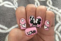 Kissing disney minnie and mickey gel nails. Disney Gel Nails, Nail Art Disney, Ongles Mickey Mouse, Minnie Mouse Nails, Nail Art Designs, Anniversary Nails, Nails For Kids, Trendy Nail Art, Gel Nail Art