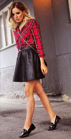Leather skater skirt with plaid shirt