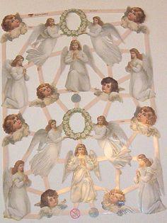 Newer German Victorian Easter Christmas  Angels children die cuts diecuts scraps embellishments sheet ef 7382