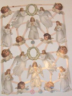 Newer German Victorian Easter Christmas  Angels children die cuts diecuts scraps embellishments sheet ef 7382