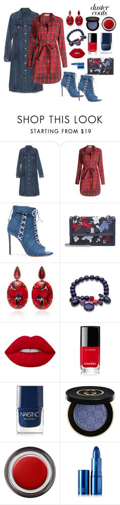 Untitled #706 by siriusfunbysheila1954 on Polyvore featuring WithChic, Oscar Tiye, Salvatore Ferragamo, Silvia Furmanovich, Gucci, Lime Crime, Lipstick Queen, John Lewis, Chanel and Nails Inc.
