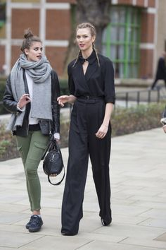 fashion-clue:  runwayandbeauty:  Taylor Marie Hill & Karlie Kloss afterthe Topshop Unique show at London Fashion Week Fall 2016.  www.fashionclue.net| Fashion Tumblr Street Wear & Outfits