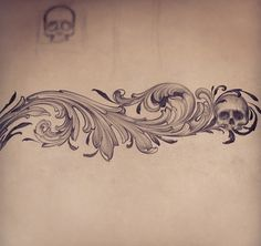 """I like the ornamental sketch. The skull being worked in with the flow is interesting and unexpected. I wouldn't want a skull to be prominent but it could be neat to have it or another non-botanical element """"tucked"""" into the rest of the design. Filagree Tattoo, Sternum Tattoo, Chest Tattoo, Body Art Tattoos, Tribal Tattoos, Sleeve Tattoos, Filigrana Tattoo, Arabesque, Scroll Tattoos"""