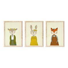Animal Illustration Print Set Kids Room Wall Art, Nursery Wall Art, Vibrant Colors, Colours, Childrens Wall Art, Fox Girl, Crisp Image, Hand Designs, Woodland Animals