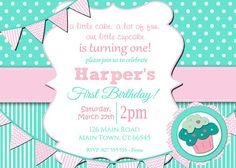 Girls 1st Birthday Invitation / First Birthday Cupcake Invitation / Printable Download / Pink Aqua Cupcake Invite / Digital Stripes (46)