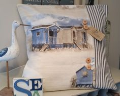 Beach-Hut-Cushion-Cover-Nautical-Seaside-18-Coastal-Fabric-Ticking-Stripe