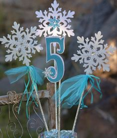 Snowflake Centerpiece for a Frozen Birthday Party plus tulle and rhinestones / by PocketFullofGlitter, $15.00