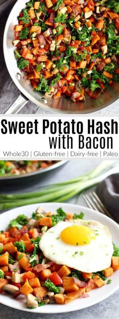 Sweet potatoes, mushrooms, kale, bacon...oh my! This Sweet Potato Hash with Bacon is flavorful, super simple and delicious. A Whole30-friendly recipe you can enjoy for breakfast, lunch or dinner. | The Real Food Dietitians | https://therealfoodrds.com/sweet-potato-hash-recipe/